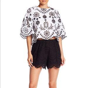 Do + Be Black Eyelet Lace Shorts - Size Medium